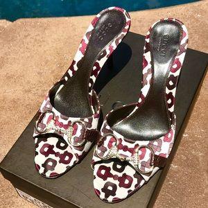 Gucci Embellished Horse bit Satin Heels